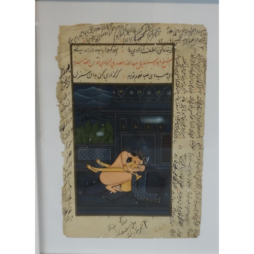 504 - A Persian illuminated manuscript page of a sexual intercourse, framed and glazed, 30 x 22 cm...
