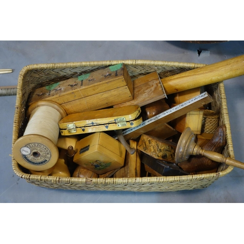 556 - Miscellaneous wood and wicker treasure trove including carvings, working tools and boxes