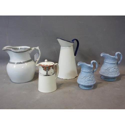 557 - 1970's jug and basin together with five other jugs...