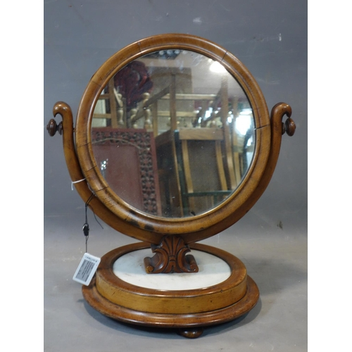 593 - Victorian round dressing table mirror with marble base, H. 63 cm...