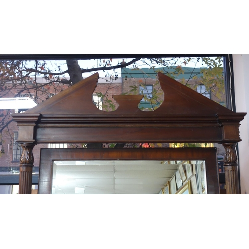595 - A large Georgian style mahogany cheval mirror, with broken arch pediment top, raised on cabriole leg...