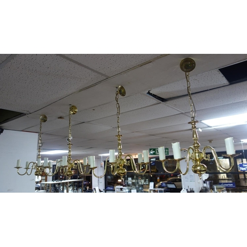 570 - A set of 4 Brass chandeliers...