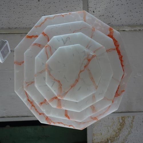 573 - An Art deco glass ceiling light shade, H.18 W.35 D.35cm...