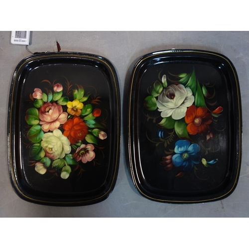 561 - A pair of early 20th century Russian hand painted tole ware trays, stamped made in the USSR, 33 x 24...