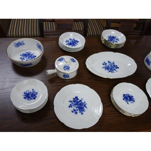 612 - A French porcelain blue and white part dinner service, makers stamp 'Berry'...