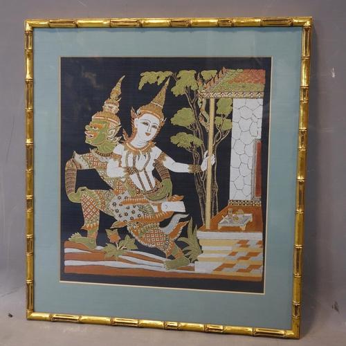 507 - Contemporary Thai artist, Shiva and Dwarapala?, gutta pigments on blue silk, framed and glazed, 60 x...