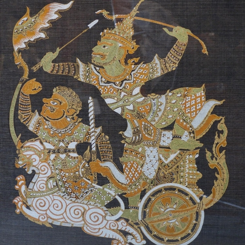 508 - Contemporary Thai artist, warrior on a chariot (Dwarapala?), gutta pigments on bue silk, framed and ...