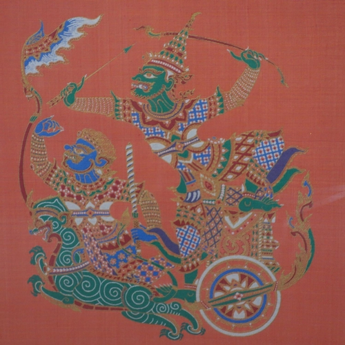 511 - Contemporary Thai artist, two dancing figures and a warrior on a chariot, gutta pigments on red silk...
