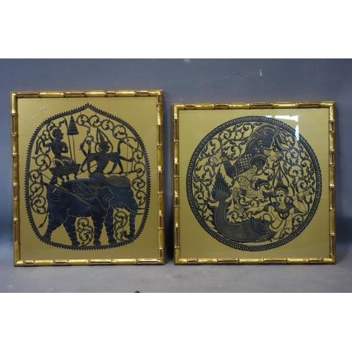 512 - Two paper cut-outs, one with a divinity riding an elephant and the other with sea monsters and merma...