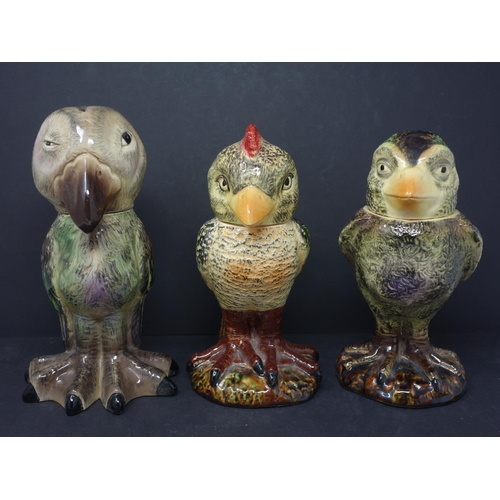 615 - Three reproduction Martin Brothers bird jars, H.23cm (largest), together with two bird jar bodies wi...