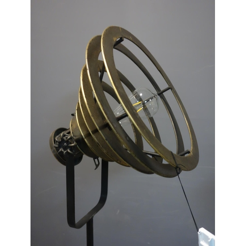 576 - A pair of industrial style spot light standard lamps, battery operated, H.132cm...