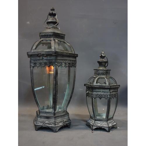 577 - Two storm lanterns, tallest H.79cm...