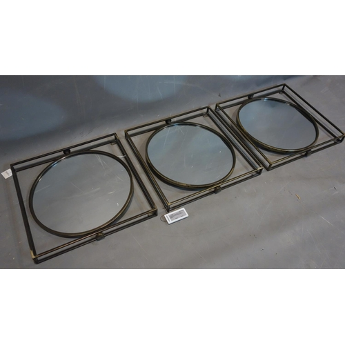 601 - Three industrial style swing mirrors, 49 x 49cm...