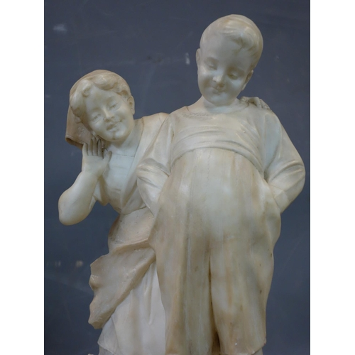 536 - Ferdinando Vichi, Italian, (1875-1945), alabaster sculpture of a boy and girl looking at a cat, sign...