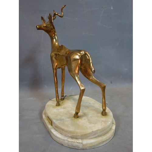 11 - John Mulvey (b.1939), a gilt bronze figure of a Greater Kudu, on stepped oval marble base, with plaq...