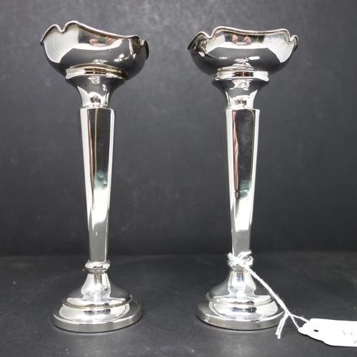 2 - A pair of silver posy vases, by Sanders & Mackenzie, Birmingham 1964, H.18cm, gross weight 7.2 troy ...