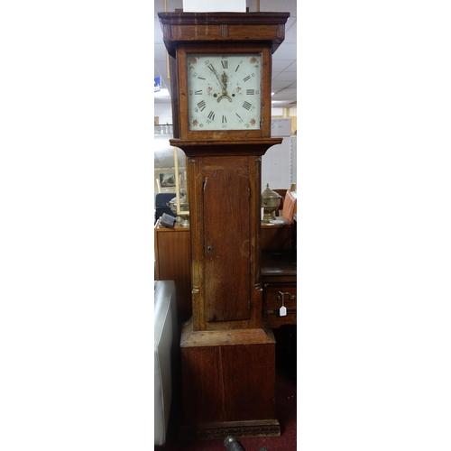 47 - A late 18th century oak longcase clock, twin train movement, striking bell, 13