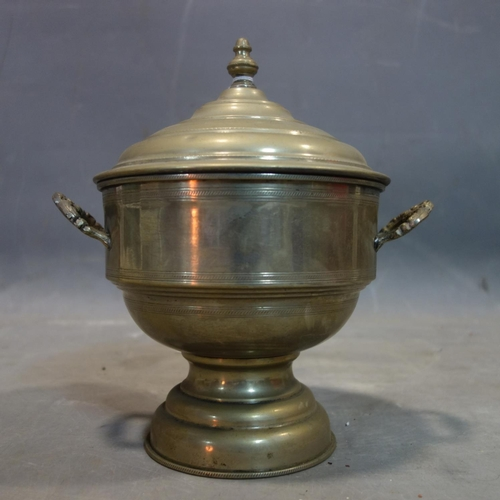 43 - Three early 20th century middle eastern pewter tea caddys, stamped to base, largest H.27cm...
