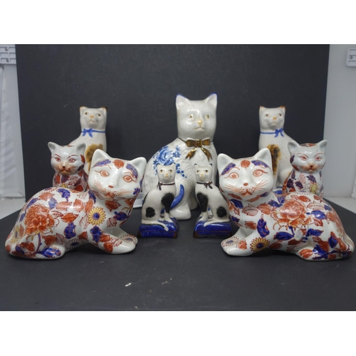 10 - Two pairs of early 20th century Chinese ceramic cats, with character marks to base, together with 2 ...