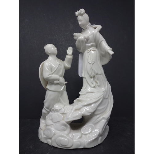 13 - A Chinese porcelain mid-century, blanc de chine group, based on the folk tale of  'the cowherd and t...