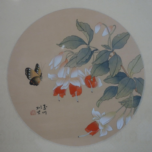 16 - A Chinese circular painting of fuchsias and a butterfly mounted on silk, 220mm diameter ex-frame, si...