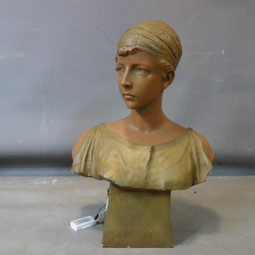 4 - After R. Aurili, a cast plaster bust of young woman, on a tapering base, bearing signature and stamp...
