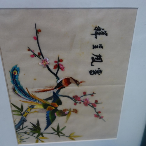 22 - A pair of Chinese silk embroideries of birds on branches, 25 x 21cm and 19 x 24cm...