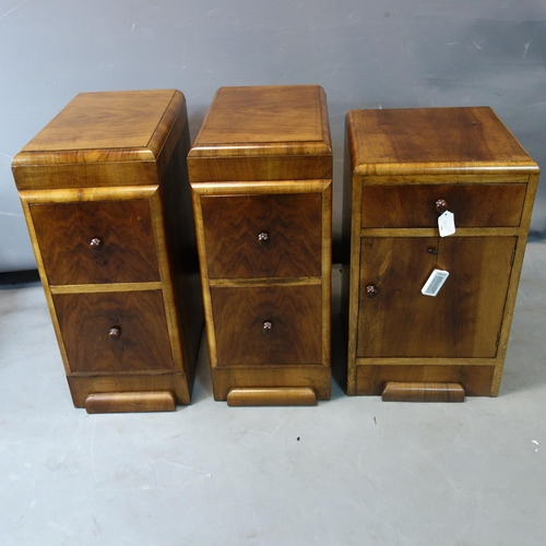 239 - A pair of Art Deco walnut pedestal chests of 2 drawers, H.70 W.30 D.48cm, together with a walnut cup...