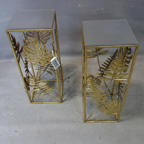 261 - A pair of contemporary gilt lamp tables of leaf design, with bevelled mirrored tops, H.70 W.26.5 D.2...