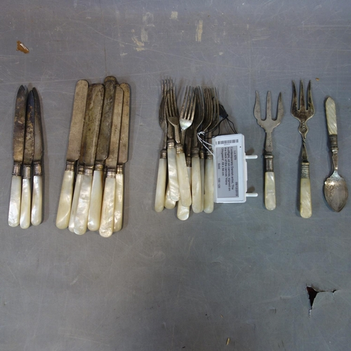 506 - A collection of silver plated and mother of pearl handled cutlery...