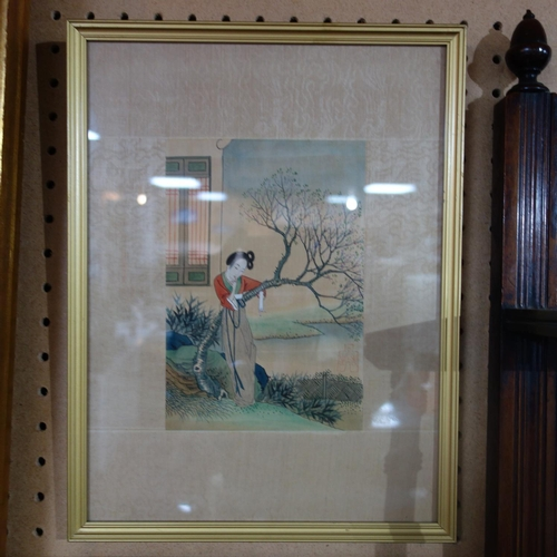 566 - A pair of 20th century Japanese watercolours on silk depicting figures standing by a tree, 20 x 15cm...