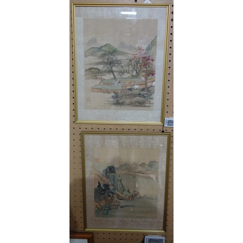 567 - A pair of 20th century Japanese watercolours on silk depicting mountainous landscapes, 35 x 28cm...