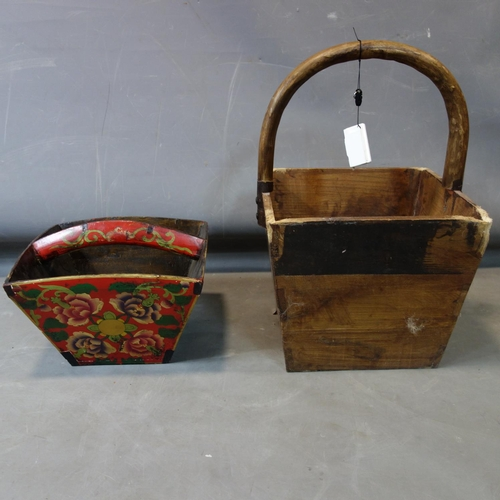 583 - A wooden basket H.53 W.35 D.35cm and another painted smaller wooden basket...
