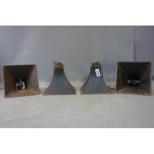 599 - Four Industrial metal pendant lights, H.33 W.38 D.38cm...