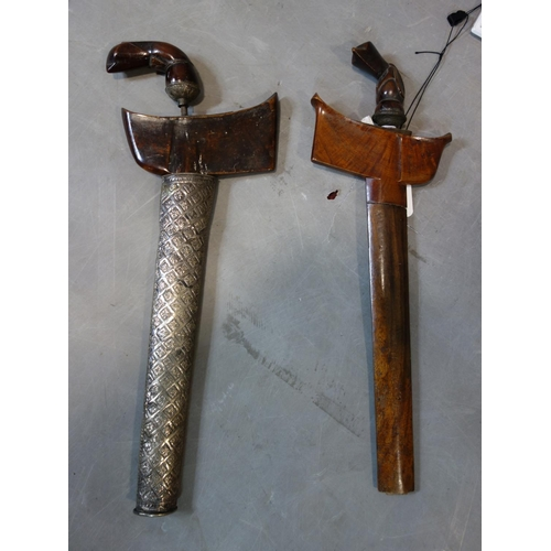 527 - Two Indonesian Javanese Kris daggers, one having white metal clad scabbard, both 44cm...