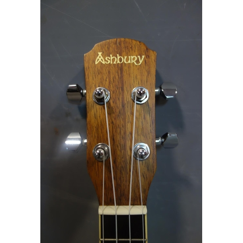 597 - An Ashbury ukulele, model no. AU80C, serial no. 16082083, in Kinsman hard case, together with Ashbur...