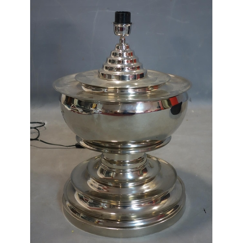 601 - A large contemporary chrome table lamp with shade by Eichholtz, H.82cm...