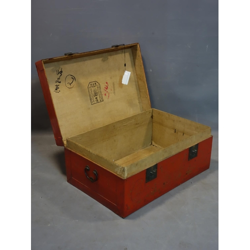 544 - A late 19th/early 20th century Chinese red lacquered trunk, with character mark inside, H.33 W.79 D....