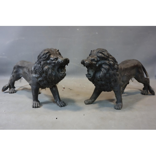 512 - A large pair of cast spelter models of lions, H.49 W.83 D.24cm...