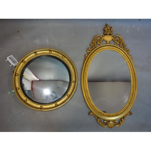 588 - Two gilt mirrors, to include a Regency style circular mirror with concave glass, Diameter 45cm, and ...