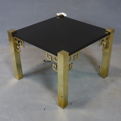 548 - A Chinese solid brass table table, with painted black top, on square legs, H.43.5 W.59 D.59cm...