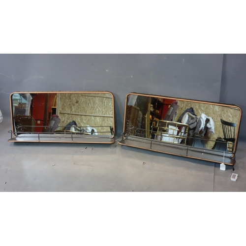 593 - A pair of Industrial style mirrors with shelves, H.42 W.90 D.17cm...
