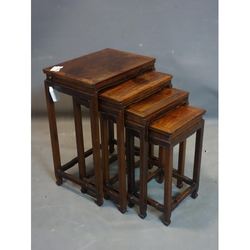 559 - A 20th century Chinese hardwood nest of 4 tables, H.65 W.47 D.33cm...