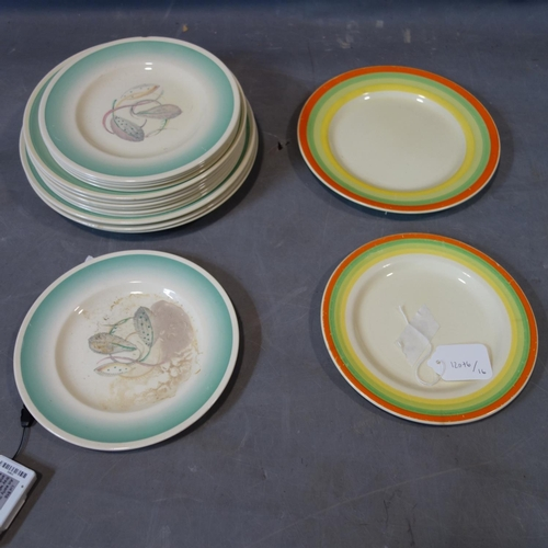 1 - A collection of 14 Susie Cooper plates together with 2 Clarice Cliff plates...
