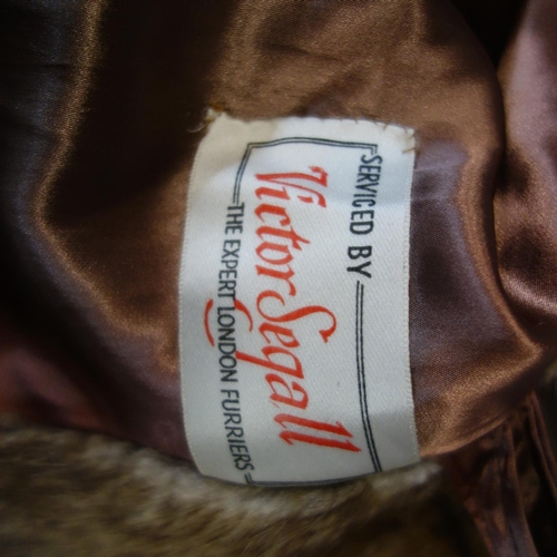 114 - A ladies vintage rabbit fur coat, with label for Victor Segall, H.115cm...