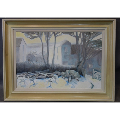 157 - Jo Pelly, Trees with buildings to background, oil on board, in cream painted frame, 50 x 75.5cm...