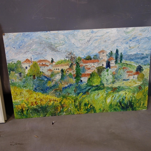 182 - An oil on board of a Continental landscape with cliffs and sea to background, in white frame, 32 x 4...