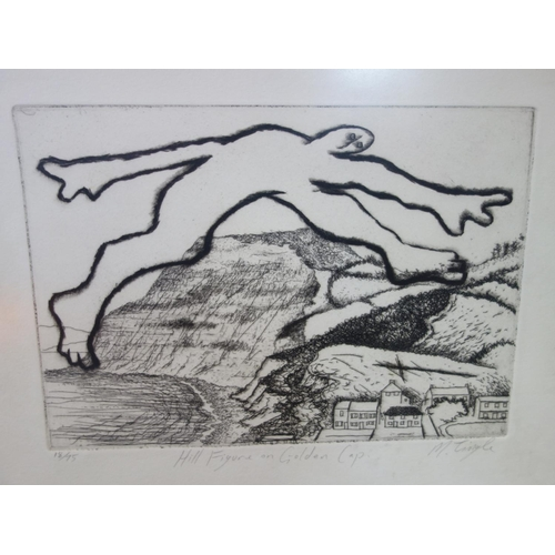 226 - Mike Tingle, 'Hill Figure in Golden Cap', etching, signed in pencil, numbered 18/75, framed and glaz...