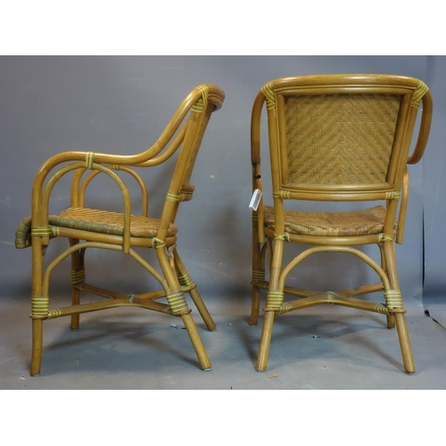 280 - A pair of bamboo and wicker conservatory chairs...