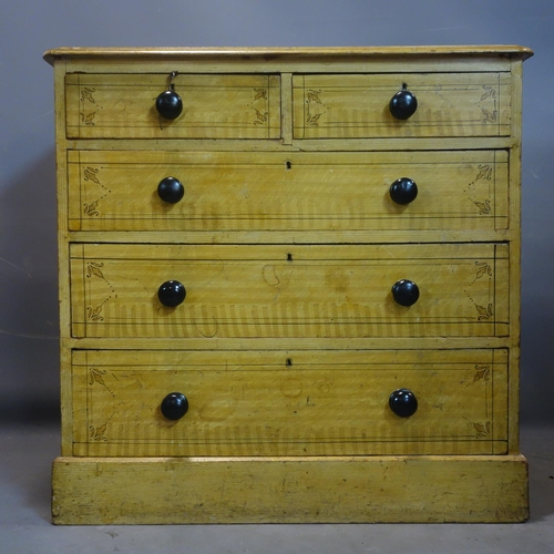 249 - A Victorian painted chest of drawers, H.92 W.94 D.46cm...